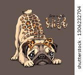 cute pug with a predator skin... | Shutterstock .eps vector #1306232704