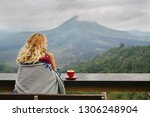 woman drinking coffee with the... | Shutterstock . vector #1306248904