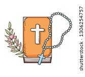 holy bible book with rosary | Shutterstock .eps vector #1306254757