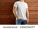 mockup clothes. brawny slim ... | Shutterstock . vector #1306256257
