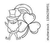 st patricks day leprechaun with ... | Shutterstock .eps vector #1306258951