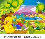 cartoon spring nature... | Shutterstock . vector #1306260187