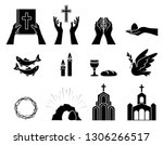 religious christian symbols and ... | Shutterstock .eps vector #1306266517