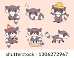 kawaii funny raccoon collection.... | Shutterstock .eps vector #1306272967