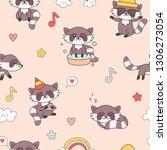 kawaii raccoon seamless pattern.... | Shutterstock .eps vector #1306273054