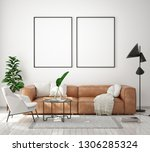 mock up poster frame in modern... | Shutterstock . vector #1306285324