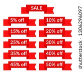 set of red sale ribbons with...   Shutterstock . vector #1306296097