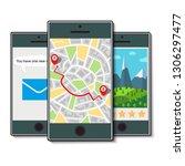 set of three mobile phones.... | Shutterstock . vector #1306297477
