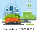 garbage truck or recycle truck... | Shutterstock .eps vector #1306298851