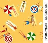 beach top view seamless vector... | Shutterstock .eps vector #1306307431