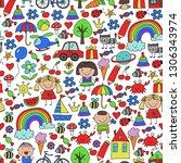 kindergarten pattern with cute...   Shutterstock .eps vector #1306343974