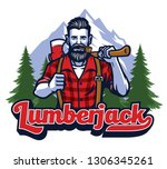 lumberjack with pipe and... | Shutterstock .eps vector #1306345261