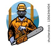 logging worker hold the chainsaw | Shutterstock .eps vector #1306346404