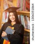 young women graduates wear...   Shutterstock . vector #1306351864