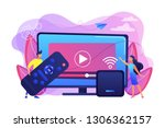 tiny people watch video with... | Shutterstock .eps vector #1306362157