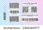 barcode vector set. qr code... | Shutterstock .eps vector #1306364977
