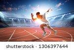 sportsman running track. mixed...   Shutterstock . vector #1306397644