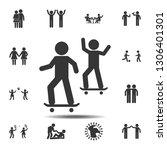 friends skateboard icon. simple ... | Shutterstock .eps vector #1306401301