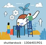startup  new business start ... | Shutterstock .eps vector #1306401901