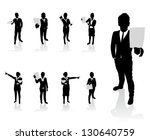 business people set holding up... | Shutterstock .eps vector #130640759