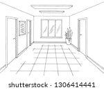 corridor graphic black white...   Shutterstock .eps vector #1306414441
