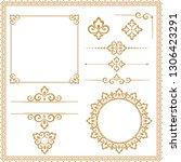 vintage set. floral elements... | Shutterstock .eps vector #1306423291