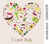 Italy Symbols In Heart Shape