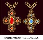 floral gold cross   Shutterstock .eps vector #130642865