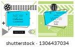 set of trendy abstract... | Shutterstock .eps vector #1306437034