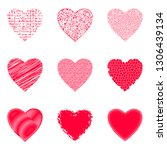 set of valentine hearts with... | Shutterstock . vector #1306439134