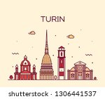 turin skyline  northern italy.... | Shutterstock .eps vector #1306441537