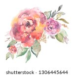 cute  painted watercolor rose... | Shutterstock . vector #1306445644
