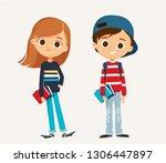 set of happy kids in different... | Shutterstock .eps vector #1306447897