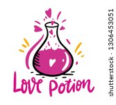 love potion and flask of love... | Shutterstock .eps vector #1306453051