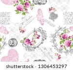 Stock photo seamless pattern with small wild flowers with bouquet of figure lettering lace butterfly and 1306453297