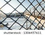 close up view of frozen metal... | Shutterstock . vector #1306457611