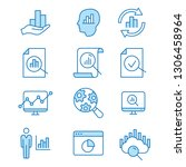 data analysis flat line icons.... | Shutterstock .eps vector #1306458964