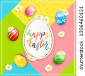painted easter eggs with... | Shutterstock .eps vector #1306460131
