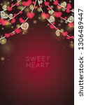 hanging red heart with party... | Shutterstock .eps vector #1306489447