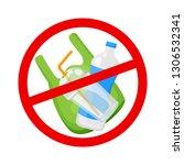 warning sign stop plastic waste ... | Shutterstock .eps vector #1306532341