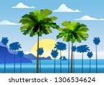 summer sunny tropical... | Shutterstock .eps vector #1306534624