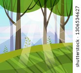 beautiful spring forest trees ...   Shutterstock .eps vector #1306534627