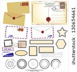 Set Of Post Stamp Symbols ...