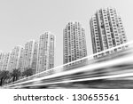the light trails on the modern... | Shutterstock . vector #130655561