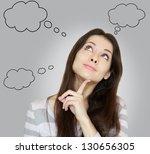 Thinking Woman With Many Ideas...