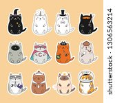 Set Of Kawaii Stickers With Fat ...