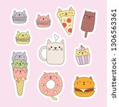 set of kawaii stickers with... | Shutterstock .eps vector #1306563361
