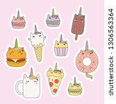 set of kawaii stickers with... | Shutterstock .eps vector #1306563364