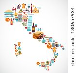 italy map with vector icons | Shutterstock .eps vector #130657934