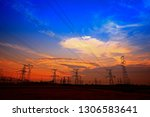 electric tower  silhouette at... | Shutterstock . vector #1306583641